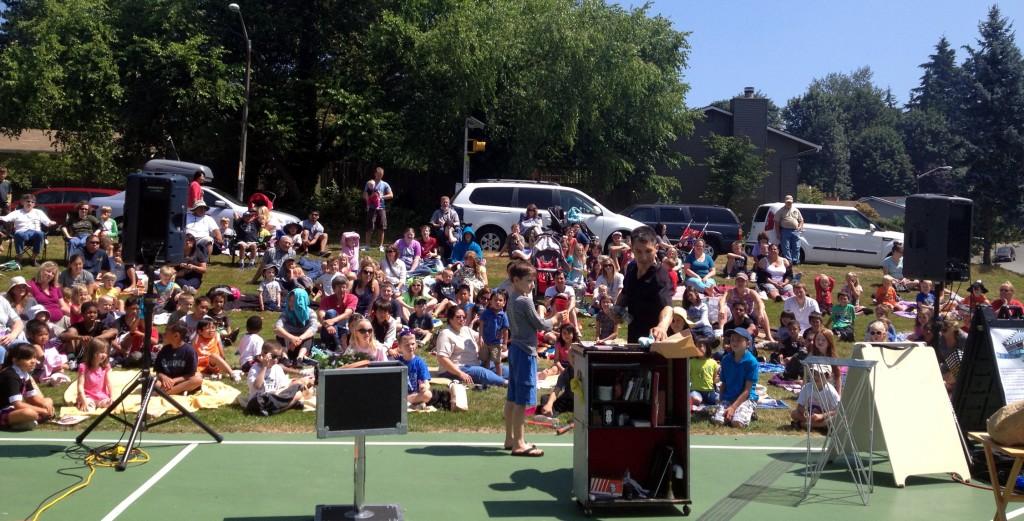 Jeff Evans performs magic at Tiffany Park in Renton