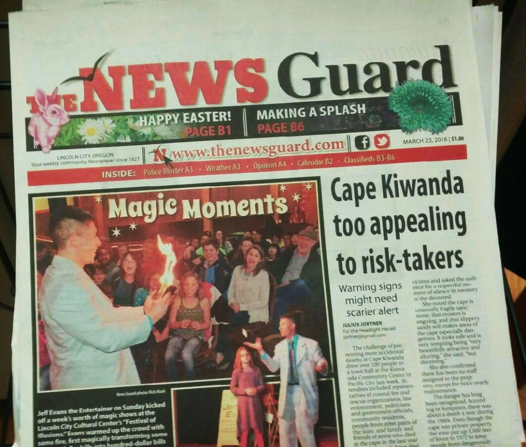 Front page news! Super article in The News Guard featuring me and the Festival of Illusions