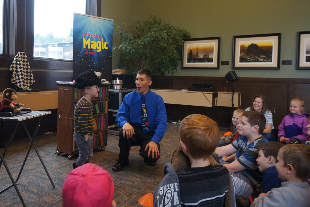 Jeff Evans' reading assembly programs for libraries and schools are seen by thousands of kids each week throughout Washington state.