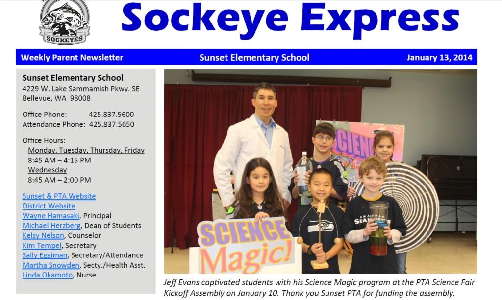 Sunset Elementary school newsletter