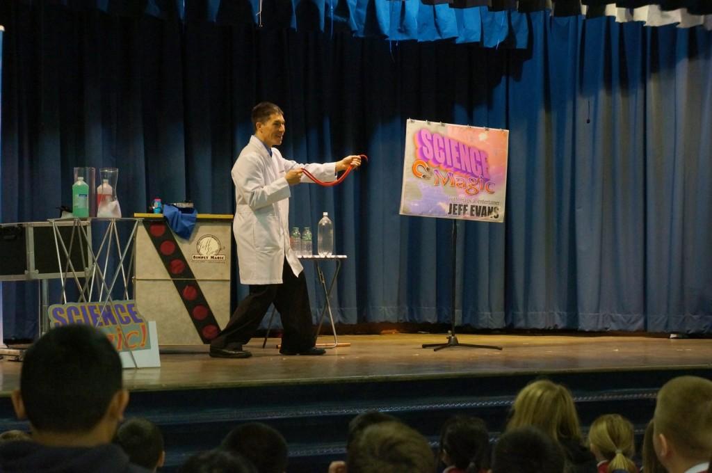 Science Magician Jeff Evans presents for St. Bernadette School in Burien