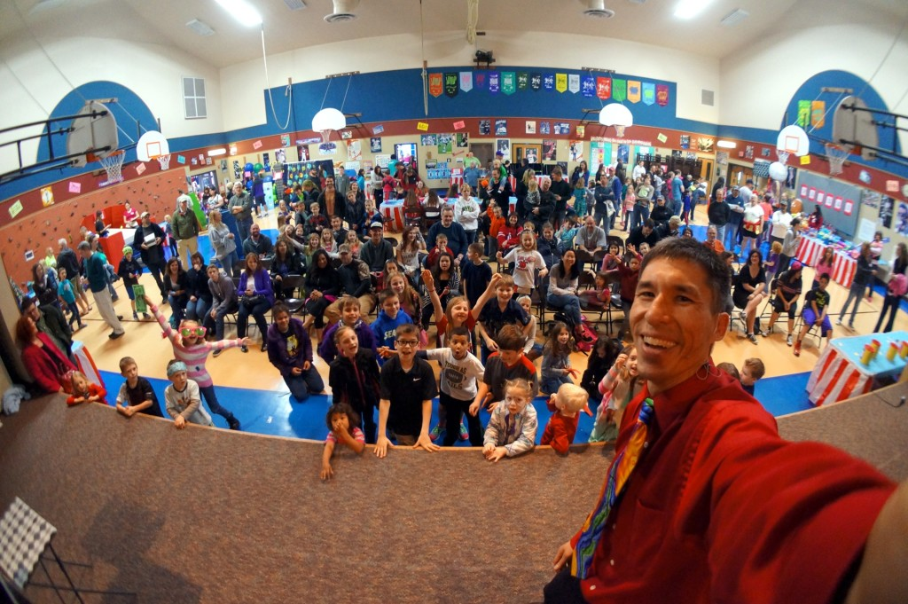 Magician Jeff Evans performs for Black Lake Elementary's carnival in Olympia