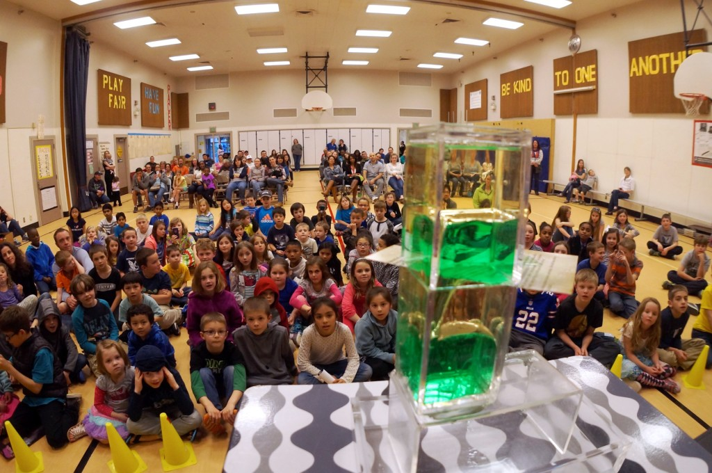 """Stage view of the """"Water and Oil Challenge"""" at Olympic View Elementary in Lacey"""