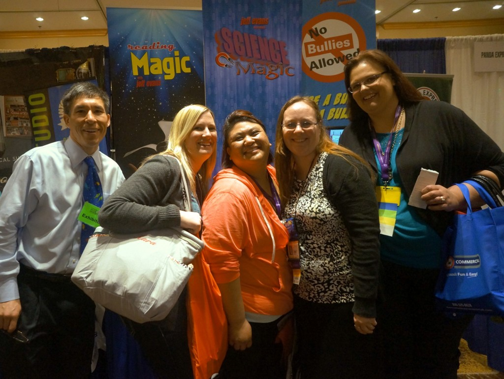 Edumazement Productions' Jeff Evans with PTA leaders from an elementary school